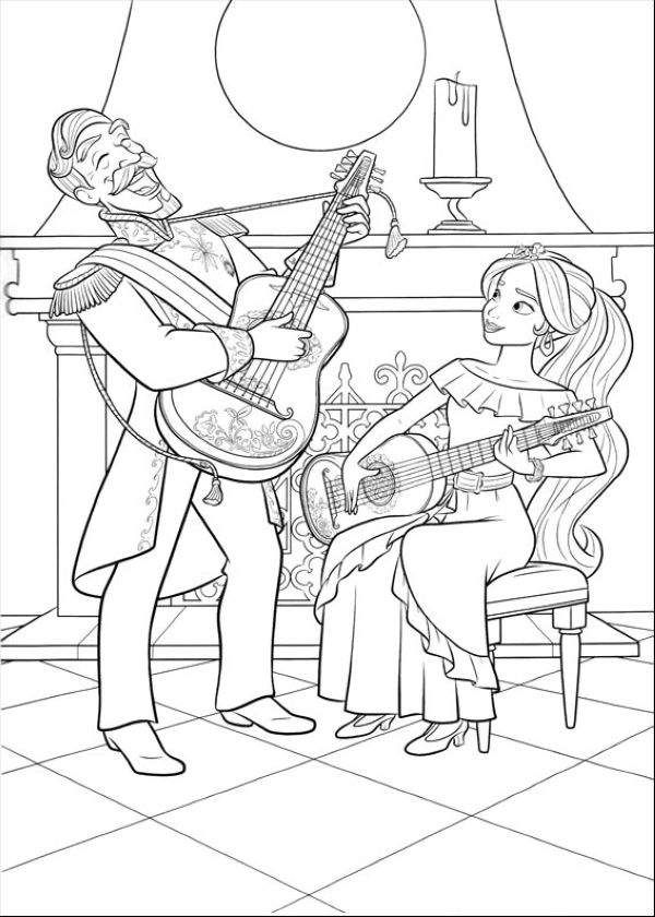 Elena of Avalor Coloring Pages Guitars