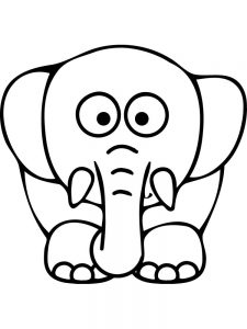 Elephant Coloring Pages Easy