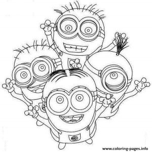 Four Happy Minion Coloring Page Coloring Pages Printable
