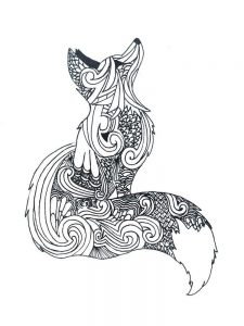 Fox Coloring Page Black And White