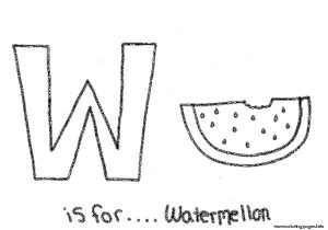 Free Alphabet W Is For Watermelon Coloring Pages Printable