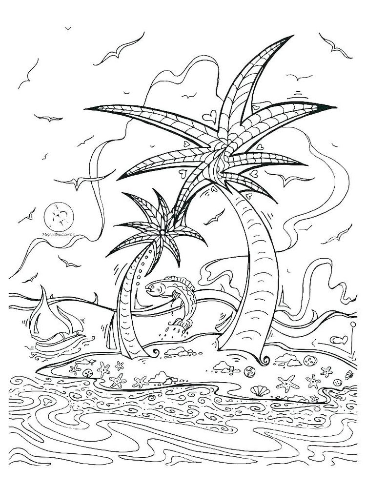Free Island Coloring Pages