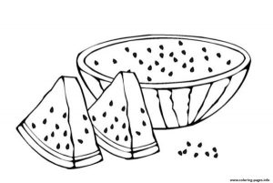 Fruit Sliced Watermelon Coloring Pages Printable
