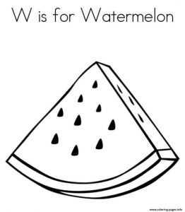 Fruity Watermelon Free Alphabet Coloring Pages Printable