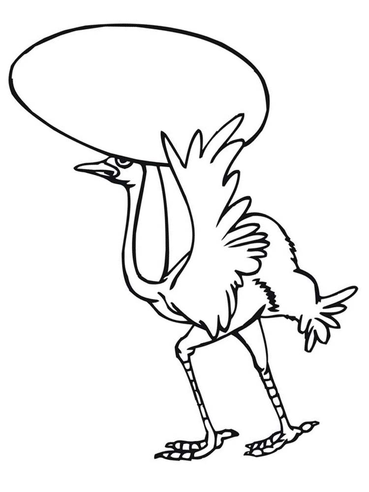 Funny Ostrich Coloring Pages