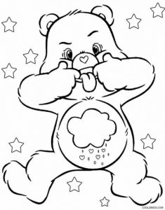Funny face care bear coloring pages