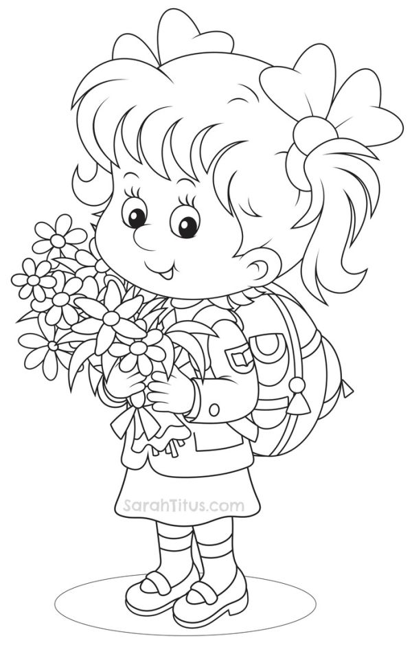 Girls student back to school coloring pages
