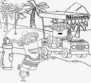 Golf minions despicable me coloring pages