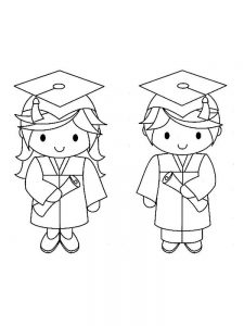 Graduation Hats Coloring Pages