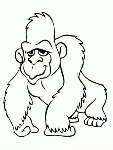Happy Gorilla Coloring Pages