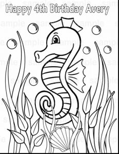 Happy birthday seahorse coloring pages