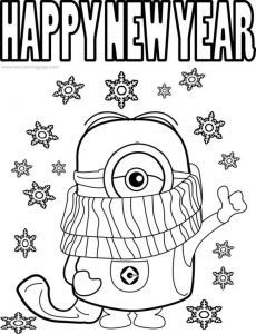 Happy new year coloring pages minions