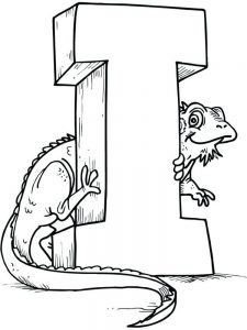 I for Iguana coloring pages