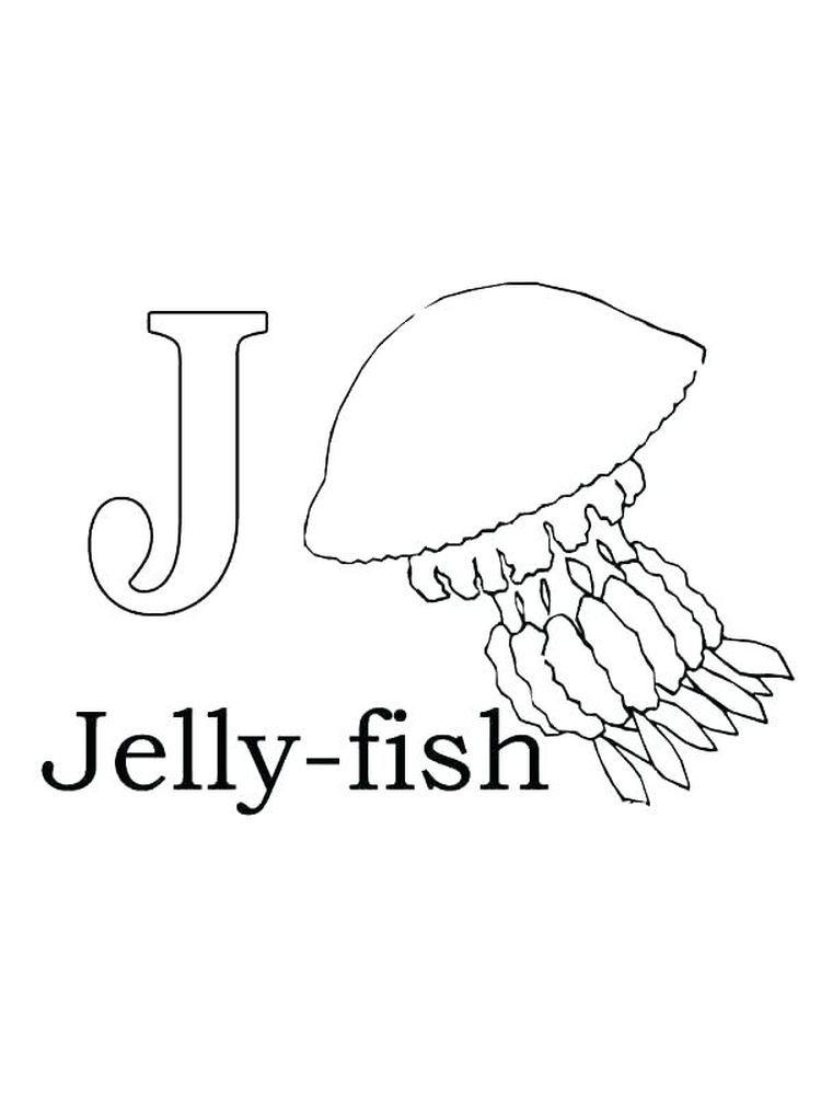 J For Jellyfish Coloring Pages