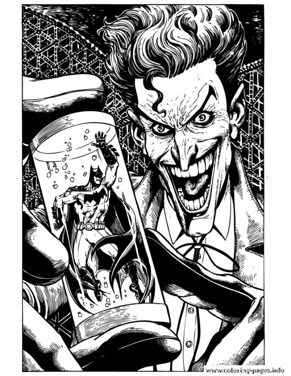 Joker Holding Batman In Tube Coloring Pages Printable