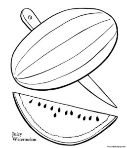 Juicy Watermelon Fruit Coloring Pages Printable