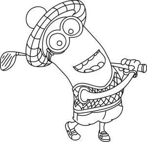 Kevin play golf minion coloring pages
