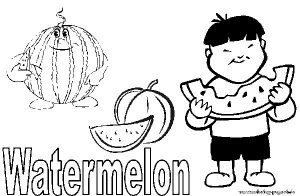 Kids Fruit Watermelone Coloring Page
