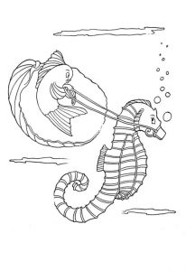 Kids printable seahorse coloring pages