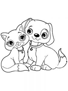 Kitten And Puppy Coloring Pages