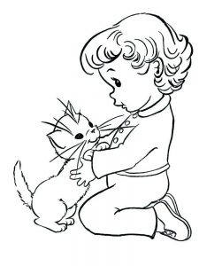Kittens And Toddler Coloring Pages