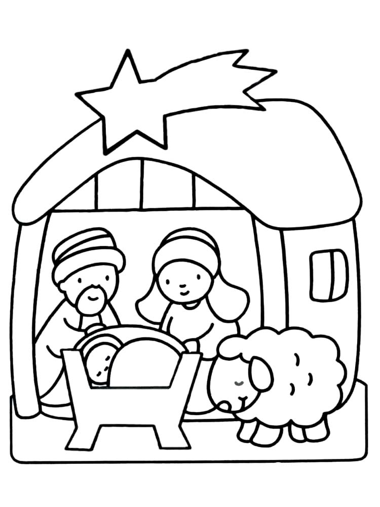 Manger Scene Coloring Page Free