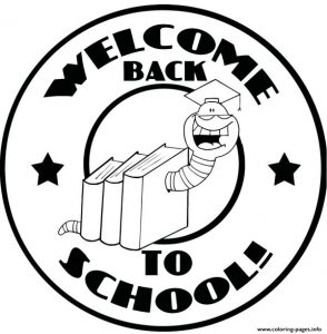 Mascot Bookworm With Text Back To School Coloring Pages Printable
