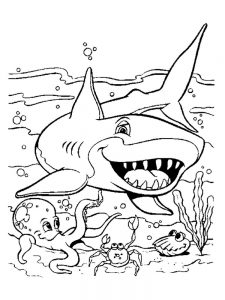 Mermaid And Shark Coloring Pages To Print