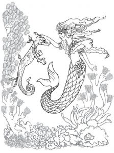Mermaid and Seahorse Adult Coloring