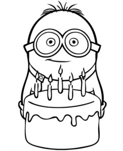 Minion Birthday Cake Coloring Page To Print For Free
