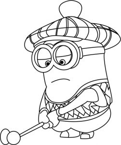 Minion Golf Coloring Page