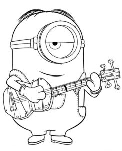 Minion With Guitar To Color To Print For Free