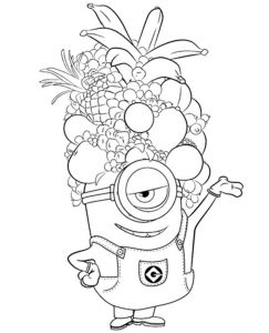 Minions Colouring Page with fruits on the head