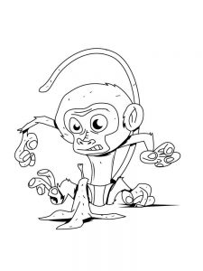 Monkey Coloring Pages Easy