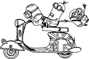 Motorcycle minion coloring pages