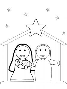 Nativity Scene Coloring Page Images