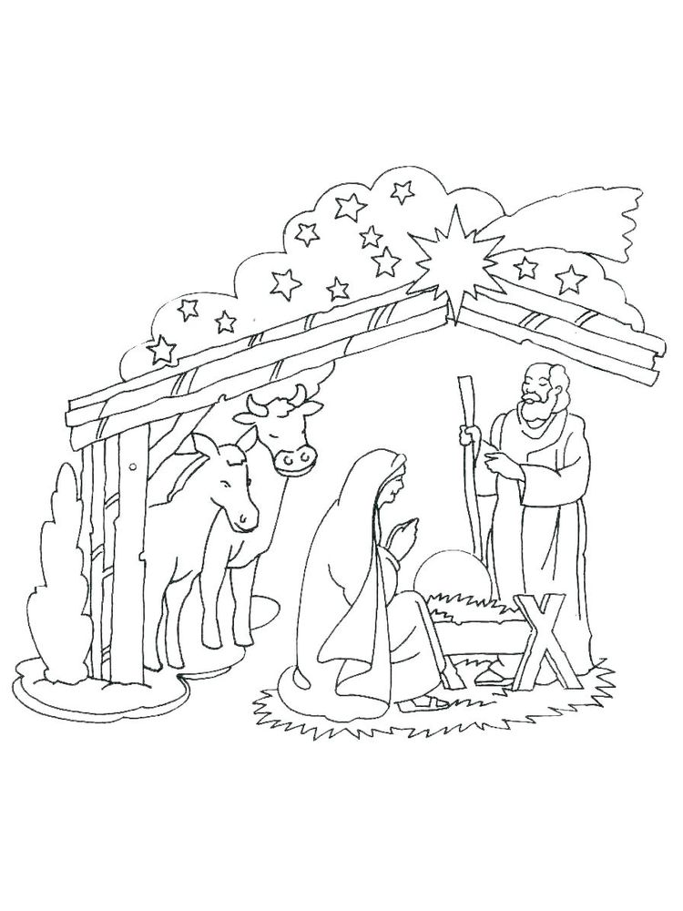Nativity Scene Coloring Pages Printable Free