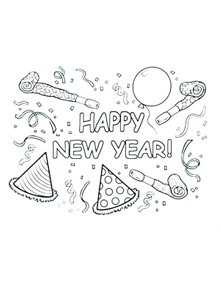 New Year Coloring Pages 2018 Free Printable