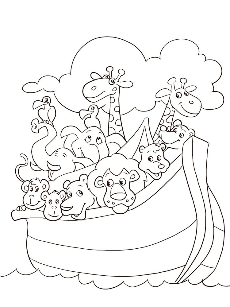 Noahs Ark And Rainbow Coloring Pages