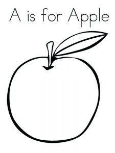 Outline Of An Apple Coloring Page