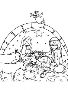 Precious Moments Nativity Scene Coloring Pages