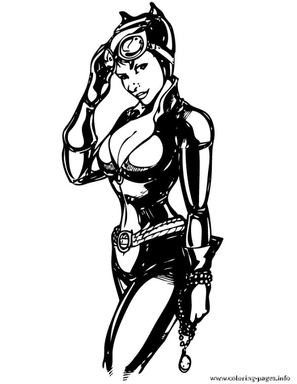 Pretty Catwoman From Batman Comic Coloring Pages Printable
