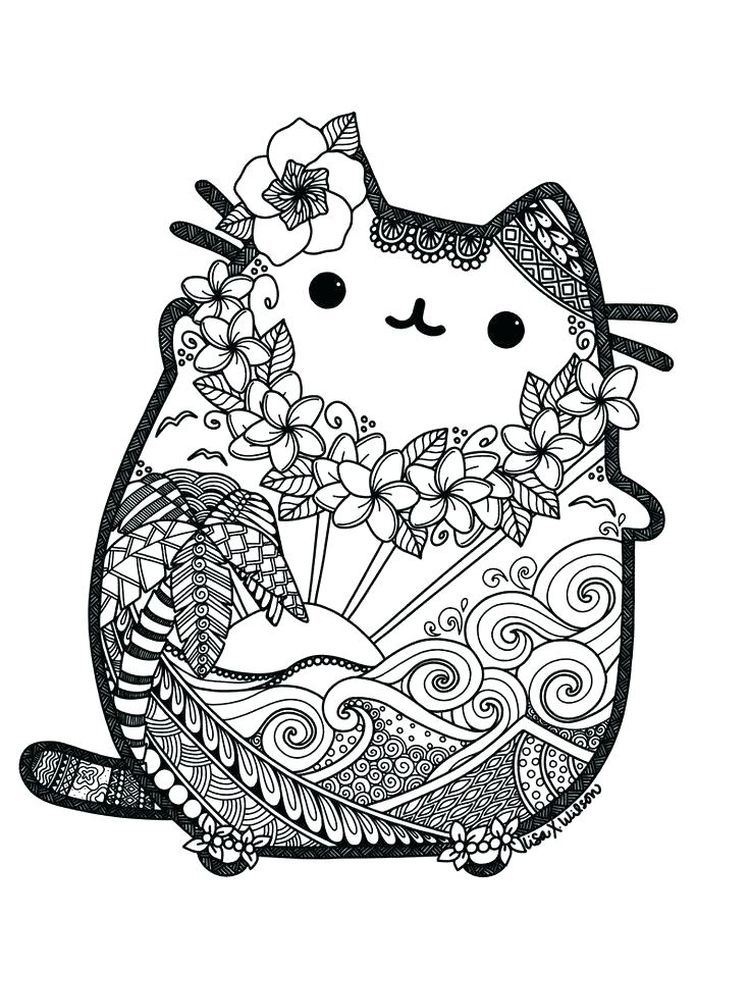 Pusheen Coloring Pages Birthday