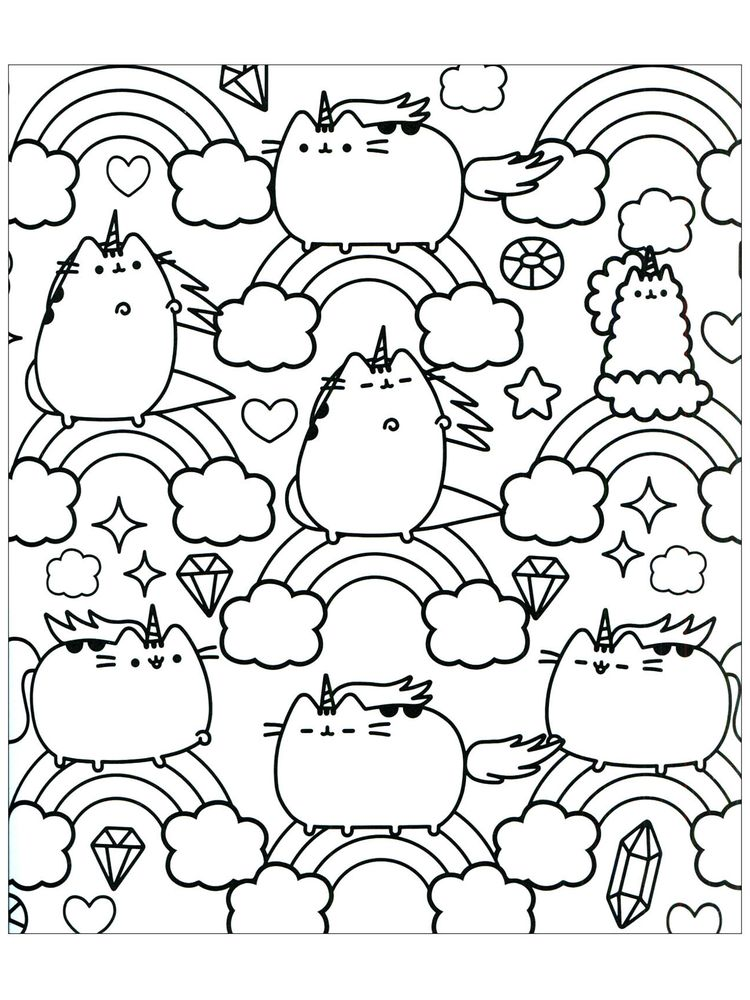 Pusheen Coloring Pages Cute