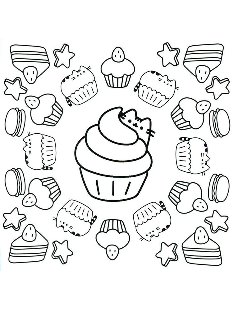 Pusheen Coloring Pages Donut