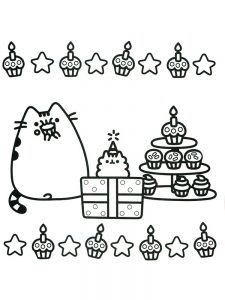 Pusheen Coloring Pages Easy
