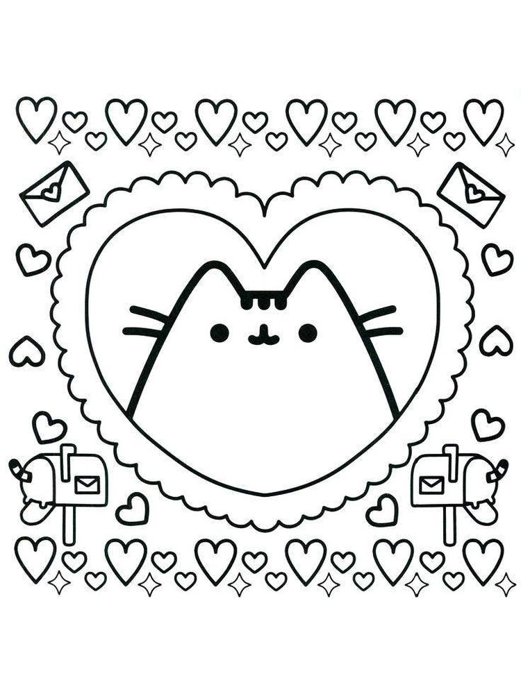 Pusheen Coloring Pages Hard