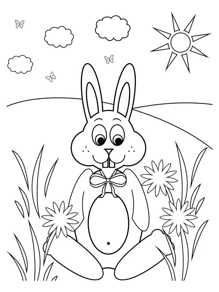 Rabbit Coloring Pages For Kindergarten