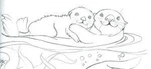 Sea Otter And Baby Coloring Pages