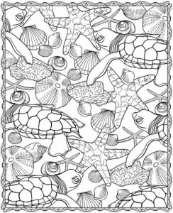 Sea Turtle Starfish Design Ocean Coloring Page
